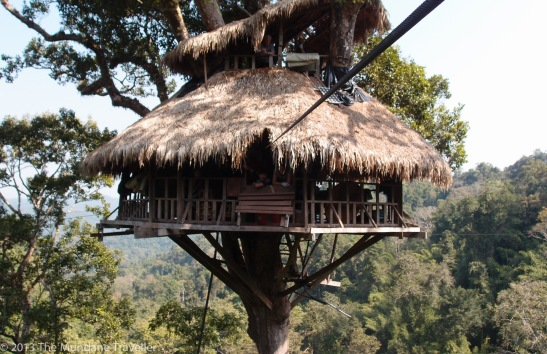 Tree house of the Gibbon Experience in Laos, a social Tree house of the Gibbon Experience in Laos, run by a social organization financing themselves through tree house stays